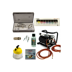 Airbrush-City Druckluftwerkzeug Airbrush Set Custom-Painting - Ultra Two in One + Sparmax AC-500 Kompressor - Kit 9305, (1-St)