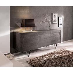 DELIFE Sideboard Wyatt, Akazie Platin 175 cm 3D Optik oben Edelstahl Design Sideboard grau 175 cm x 70 cm x 45 cm