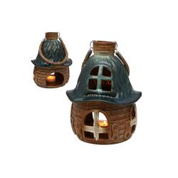 SIGRO Windlicht Porzellan Windlicht Haus (1 Stück) grün