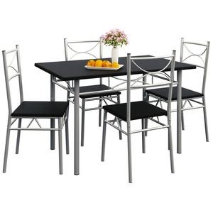 Casaria Esstisch Paul (5-St), Sitzgruppe Küchentisch mit 4 Stühlen für Esszimmer Küche Essgruppe Tisch Stuhl Set - Schwarz schwarz