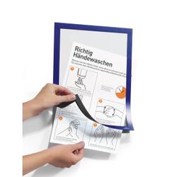 DURABLE Duraframe®, Handhygiene Info-Rahmen, A4, Informationsrahmen für Hygienevorschriften in Büro und Betrieb, 1 Beutel = 2 Stück, dunkelblau