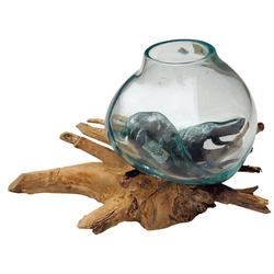 Guru-Shop Dekovase Wurzelholz Vase - 1 * Ø Glas bis 10 cm