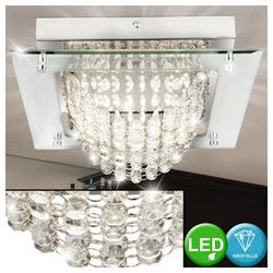 etc-shop LED Deckenleuchte, Deckenleuchte Glas Kristalle Deckenlampe LED Modern Wohnzimmerleuchte Decke Kristalle, quadratisch, 1x LED, LxBxH 28 x 28 x 9 cm