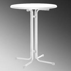MFG Stehtisch, Ø 85x110 cm, weiß Stahlrohrgestell, klappbar