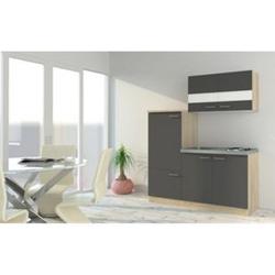 Respekta Economy Küchenzeile KB160ESG 160 cm, Grau mit Pantryauflage