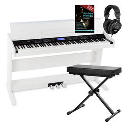 FunKey DP-88 II Digitalpiano weiß Set mit Keyboardbank, Kopfhörer und Klavierschule