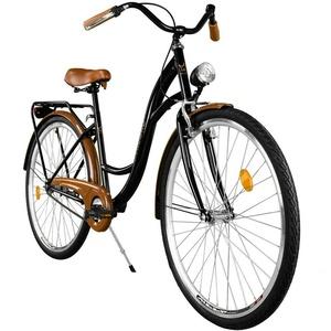 Milord. Komfort Fahrrad mit Gepäckträger, Hollandrad, Damenfahrrad, 3-Gang, Schwarz-Braun, 28 Zoll