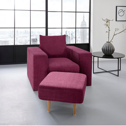 LOOKS by Wolfgang Joop Sessel, Verwandlungssessel: aus Sessel wird Sessel mit Hocker lila
