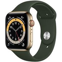Apple Watch Series 6 GPS + Cellular 44 mm Edelstahlgehäuse gold, Sportarmband zyperngrün