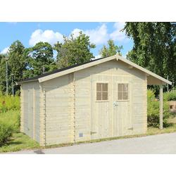 PALMAKO Gerätehaus Blockbohlenhaus Vitano 19 mm naturbelassen ohne Boden BxTxH: 426x258x228 cm, Kaminunterstand, Anbauschuppen