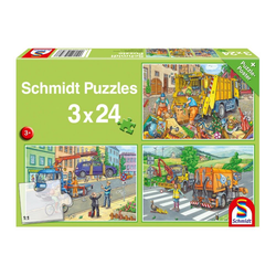 Schmidt Spiele Puzzle Müllwagen, Abschleppauto & Kehrmaschine 3x24 Teile, 72 Puzzleteile