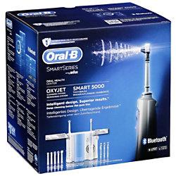 Braun Elektrische Zahnbürste + Munddusche Oral-B Center OxyJet + SMART 5 Weiß, Blau