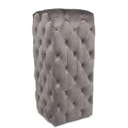 Casa Padrino Luxus Chesterfield Samt Säule Grau 45 x 45 x H. 101 cm - Chesterfield Möbel