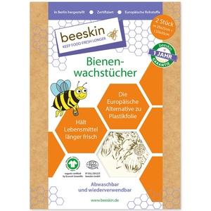 beeskin Bienenwachstuch 2er Set zum Frischhalten & Aufbewahren von Lebensmitteln – Größe: M, 25x25 cm & L, 35x35 cm, 2 Stück (Flower)