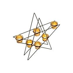 miaVILLA Teelichthalter Shining Star Schwarz/Goldfarben