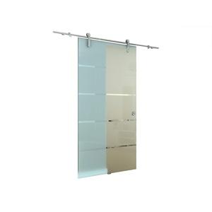 Glaszentrum Hagen - Glasschiebetür Schiebetür Tür Glastür Zimmertür mit Griffmuschel Edelstahl Komplettset (900x2050mm, Variation A01)