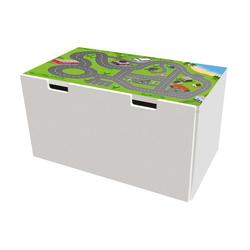STIKKIPIX Möbelfolie BTD01, (MÖBEL NICHT INKLUSIVE) Stadt Möbelfolie, Möbelaufkleber mit Straßen-Motiv, passend für die Kinderzimmer Banktruhe STUVA von IKEA (90 x 50 cm)