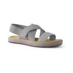 Elastische Sandalen, Damen, Größe: 36 Weit, Grau, Gummi, by Lands' End, Hellgrau - 36 - Hellgrau