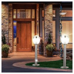 etc-shop LED Außen-Stehlampe, 2er Set LED 11 Watt Steh Leuchten Edelstahl Rasen Balkon Lampen IP44 Strahler