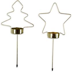 Teelichthalter (Set, 8 Stück, aus Sternen und Bäumen), Adventsstecker aus Metall