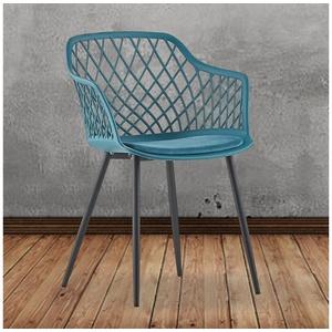 KAWOLA Esszimmerstuhl EMILIE, Stuhl Kunststoff mit Kissen versch. Farben blau