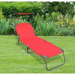 VCM Gartenliege Gartenliege mit Sonnendach rot