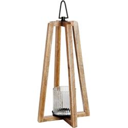 GILDE Laterne Triangolo (1 Stück), aus Holz mit Glas-Einsatz 37 cm x 20 cm