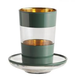 Nordal Teeglas mit Untertasse dunkel - grün
