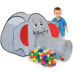 Kinder Spielzelt mit 200 Bällebad Bällen - Kinderzelt Elefant grau