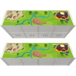 STIKKIPIX Möbelfolie KSWL19, Dinosaurier Möbelfolie, passend für das Regal KALLAX von IKEA - (Möbel Nicht inklusive)