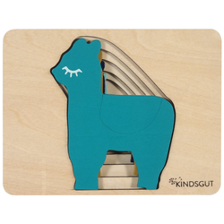 Kindsgut Puzzle, 5 Puzzleteile, Kindsgut Tier-Puzzle, Holz-Puzzle, Baby, Lern-Spiel, Lama, Kinder-Puzzle, Motorik-Puzzle, Lern-Puzzle, für zuhause und unterwegs grün