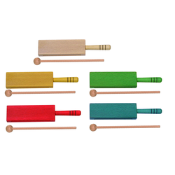 Goldon Holzblocktrommel - rot mit Griff + Schlägel
