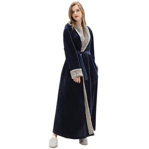 VKTY Flanell-Bademantel, Schalkragen, Fleece, für den Winter, leicht, warm, bequem, langer Kimono, für Erwachsene (Marineblau/M)