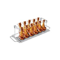 ONVAYA Hähnchenbräter Hähnchenbräter Edelstahl, Hähnchenhalter für Grill und Backofen, Geflügelhalter mit Auffangschale, Hähnchenschenkel Halter, Edelstahl, rostfreier Edelstahl
