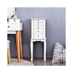 COSTWAY Schmuckschrank Aufbewahrungswürfel Aufbewahrungskiste mit Spiegel & Schubladen weiß 21.5 cm x 86.5 cm x 31.5 cm