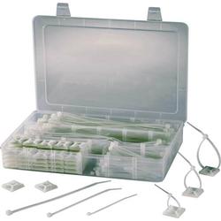 TRU Components 1566420 EPR-350 Kabelbinder-Sortiment 190mm 4.80mm Klar mit Klebesockel 1 Set
