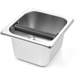 HENDI Abklopfbehälter Gastronorm, Abschlagbehälter, Abschlagkasten, entleeren des Kaffeesatz, mit abnehmbarer silikonbeschichteter Abklopfstange, GN 1/6, 176x162x(H)100mm, Edelstahl