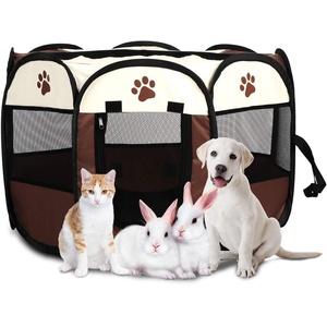 Welpenlaufstall Hundelaufstall, Faltbares Hundelaufstall Laufstall für Hund Haustier Zelt Tragbarer Tierlaufstall Netzabdeckung, für Hasen Katzen Innen und Außenbereich 68 x 45 cm