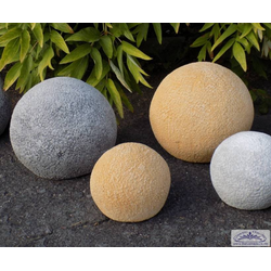 Betonkugeln mit Steinoptik als Gartendeko Steinkugel zur Gartendekoration 19cm 28cm (Farbe: ocker)