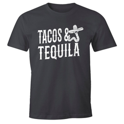 MoonWorks Print-Shirt Herren T-Shirt Tacos & Tequila Wurm Sombrero Tequilla Mexikanisch Moonworks® mit Print grau XL
