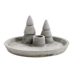 Nordal Tablett/Kerzenständer X-mas Zement