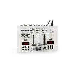 Auna DJ-22BT MKII Mixer 3/2-Kanal-DJ-Mischpult BT 2xUSB Rack-Einbau weiß Party-Lautsprecher weiß