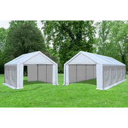 4x8 m 2in1 Kombizelt mit extra 4x4 m Dach, PVC weiß