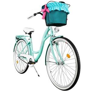 Milord. Komfort Fahrrad mit Korb, Hollandrad, Damenfahrrad, 3-Gang, Aqua Blau, 28 Zoll