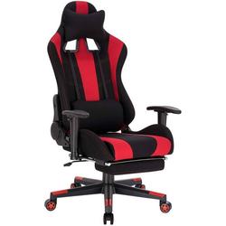 Woltu Gaming-Stuhl, Gaming Stuhl aus Stoffbezug Zipp rot