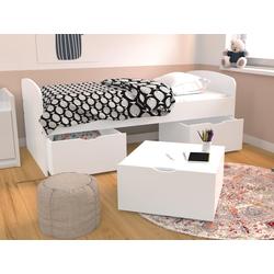 Bett LOUANE - 2 Schubladen & 1 Bettkasten  - 90 x 190 cm - Weiß