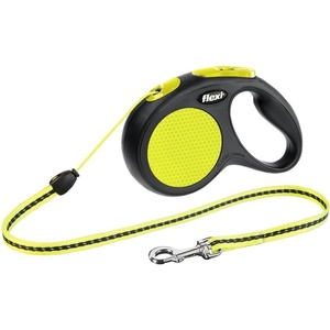 FLEXI New Neon Seil-Leine schwarz/neongelb S-5m, für Hunde bis 12 kg