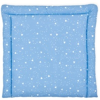 KraftKids Wickelauflage abgerundete Dreiecke weiß auf Blau, extra Weich (500 g/qm), mit antiallergenem Vlies gefüllt 78 cm x 78 cm