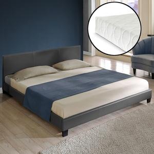 Corium® Polsterbett Matratze 140x200cm Dunkelgrau Kunst-leder Doppel Bett