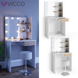 VICCO LED Schminktisch DEKOS Frisiertisch Kommode Kosmetik Weiß Eiche Hocker